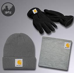 Мужской комплект шапка + бафф + перчатки Carhartt серого цвета (люкс копия)