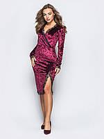 Елегантне плаття з гладкого мармурового велюру з мереживною обробкою  марсала розмір 42 44 46 48 50 e9d60d2c3e1b6