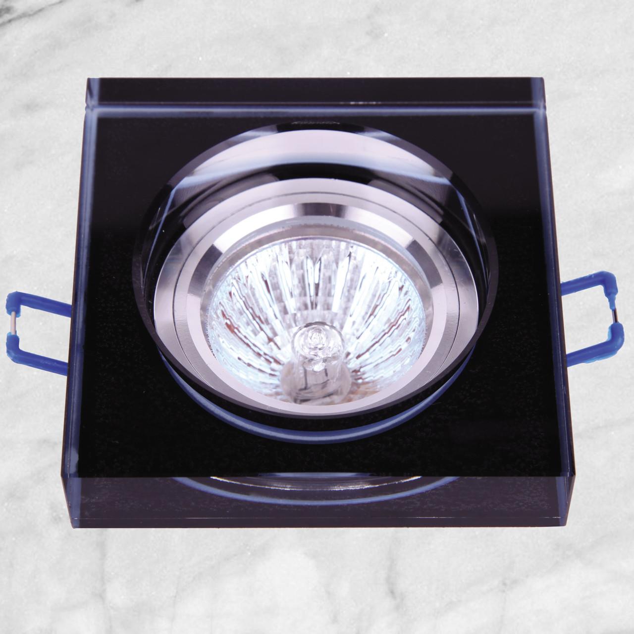 Точечный стеклянный врезной светильник (05-168 черный)