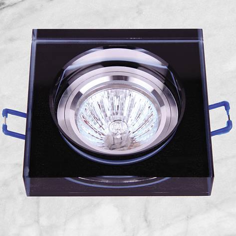 Точечный стеклянный врезной светильник (05-168 черный), фото 2