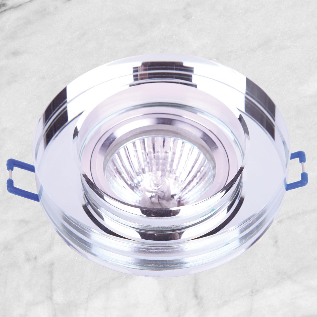 Точечный стеклянный врезной светильник (05-186 зеркальный)