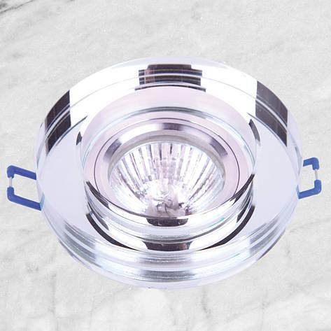 Точечный стеклянный врезной светильник (05-186 зеркальный), фото 2