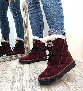 Модные женские ботинки из замша на шнурках