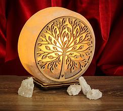 """Соляной светильник """"Круглое"""" деревянный декор"""