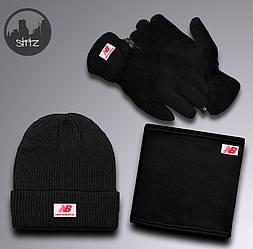 Мужской комплект шапка + бафф + перчатки New Balance черного цвета (люкс копия)