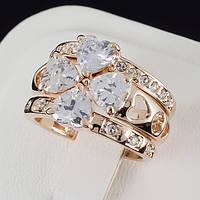 """Блестящее тройное кольцо с кристаллами Swarovski, покрытое золотом """"Сердце"""" 0136"""