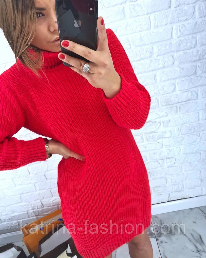 Женская стильная прямая вязаная туника-платье хит (в расцветках)