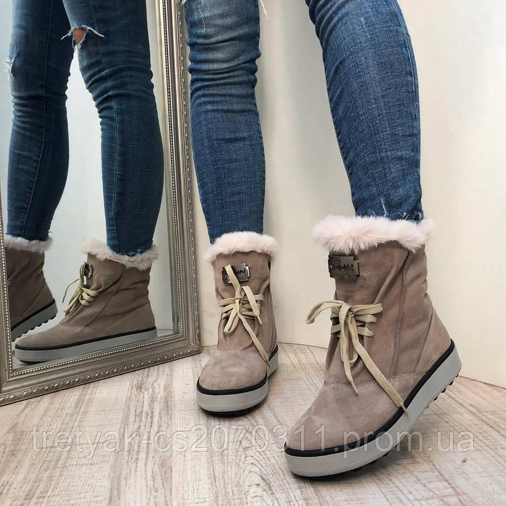 Модные женские ботинки из замша на шнурках бежевого цвета