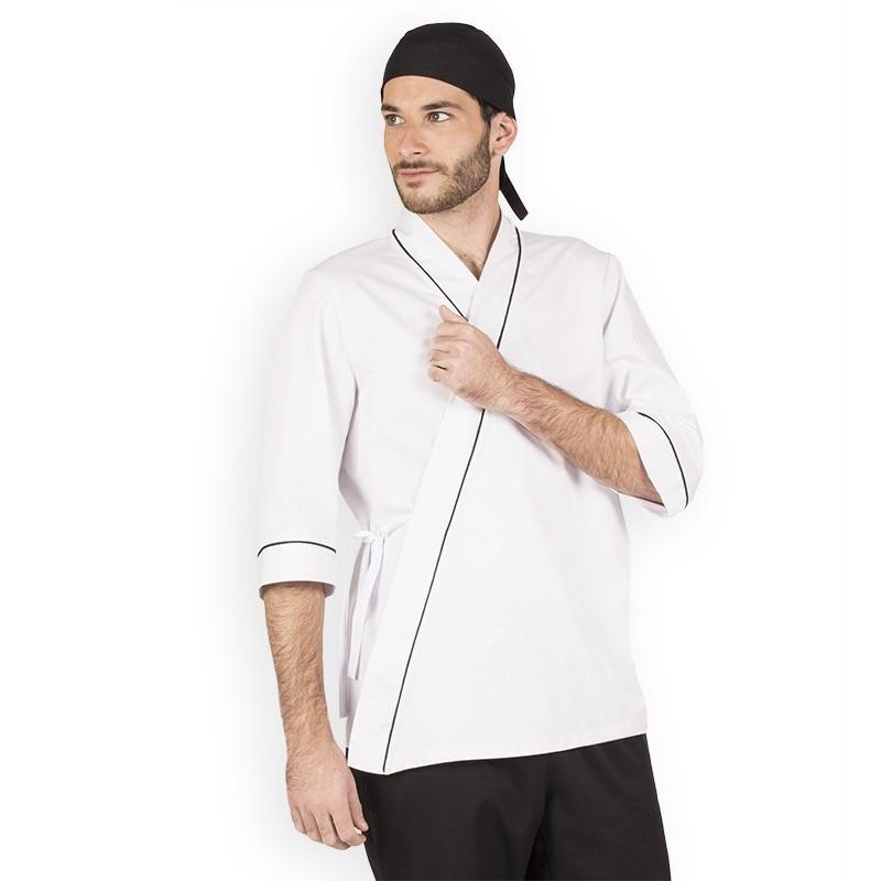 Кимоно суши повара мужское белое с черными строчками Atteks - 00917