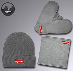 Мужской комплект шапка + бафф + перчатки Supreme серого цвета (люкс копия)