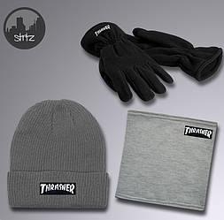 Мужской комплект шапка + бафф + перчатки Thrasher серого цвета (люкс копия)