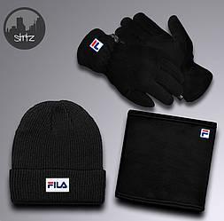 Мужской комплект шапка + бафф + перчатки Fila черного цвета (люкс копия)