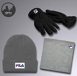 Мужской комплект шапка + бафф + перчатки Fila серого цвета (люкс копия)