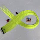 🍋 Яркие цветные пряди неоново зелёно желтого цвета  на заколках 🍋, фото 2