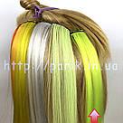 🍋 Яркие цветные пряди неоново зелёно желтого цвета  на заколках 🍋, фото 7