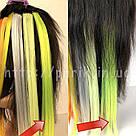 🍋 Яркие цветные пряди неоново зелёно желтого цвета  на заколках 🍋, фото 9
