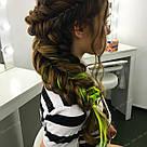 🍋 Кольорові пряді волосся на заколках кліпсах шартрез 🍋, фото 4