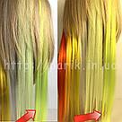 🍋 Кольорові пряді волосся на заколках кліпсах шартрез 🍋, фото 9