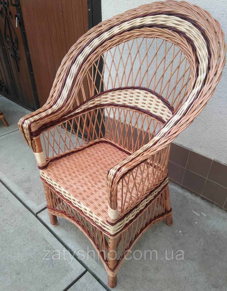 Кресло плетеное светло коричневое