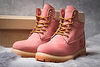 Зимние женские ботинки на меху Timberland 6 Premium Boot, розовые (30663),   ebdd9503cd1