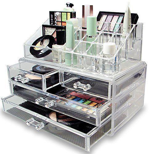Акриловый органайзер для косметики настольный Cosmetic Organizer Makeup Container Storage Box 4 Drawer