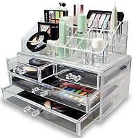 Акриловый органайзер для косметики настольный Cosmetic Organizer Makeup Container Storage Box 4 Drawer, фото 1