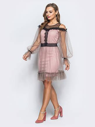 Ошатне плаття з м якого фатину в дрібний горох на трикотажному підкладки пудра  розмір 42 d4c216609993d