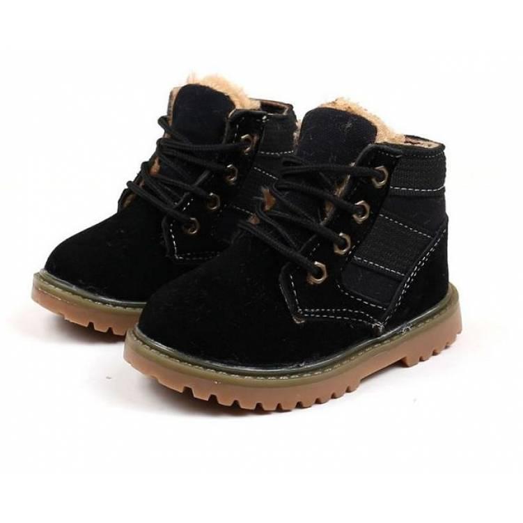 Ботинки детские зимние с мехом  из эко -замша черные