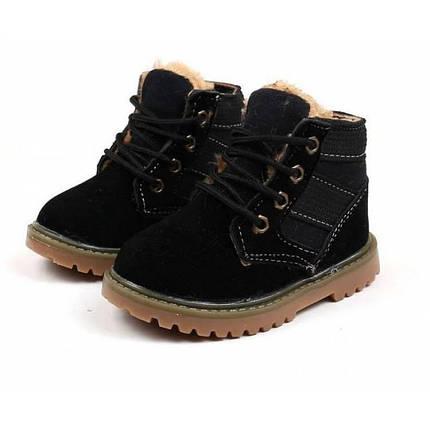 Ботинки детские зимние с мехом  из эко -замша черные, фото 2