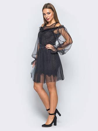 Ошатне плаття з м якого фатину в дрібний горох на трикотажному підкладки  чорний розмір 42 3e23ea38adad8