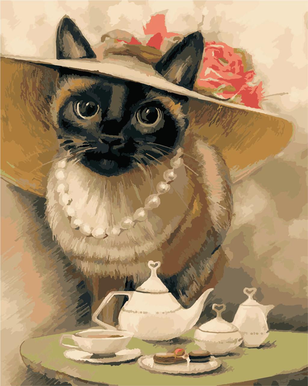 """Картина по номерам """"Леди-кошка"""" 40*50см"""