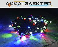 Гирлянда 100 LED КРИСТАЛЛ на черном проводе, 9m разноцветная