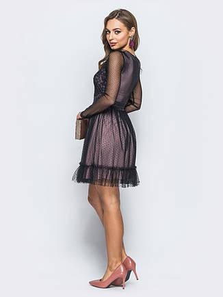 2b870b04411c34 Ошатне плаття з еластичної сітки і м'якого фатину на трикотажному підкладки  з рюшами чорний