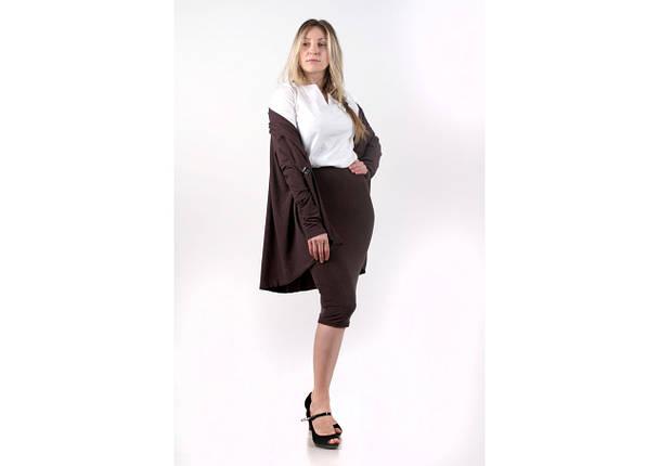 Комплект кардиган блуза юбка, коричневый, фото 2