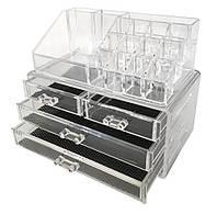 Акриловый настольный органайзер для косметики Cosmetic Organizer Makeup Container Storage Box 4 Drawer, фото 1