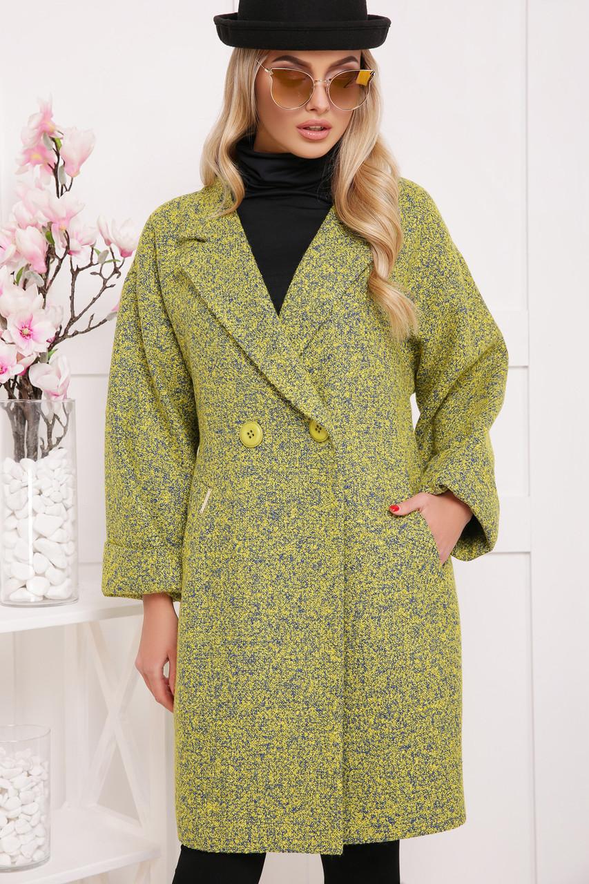 Шикарное женское демисезонное пальто цвет-карри меланж размеры:38,40,42