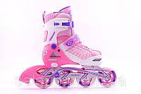 Раздвижные роликовые коньки (ролики) для подростков и взрослых. Синий, Красный, Розовый