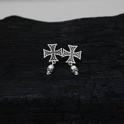 """Серебряные серьги """"Мальтийский крест"""" с камнями и черепом"""