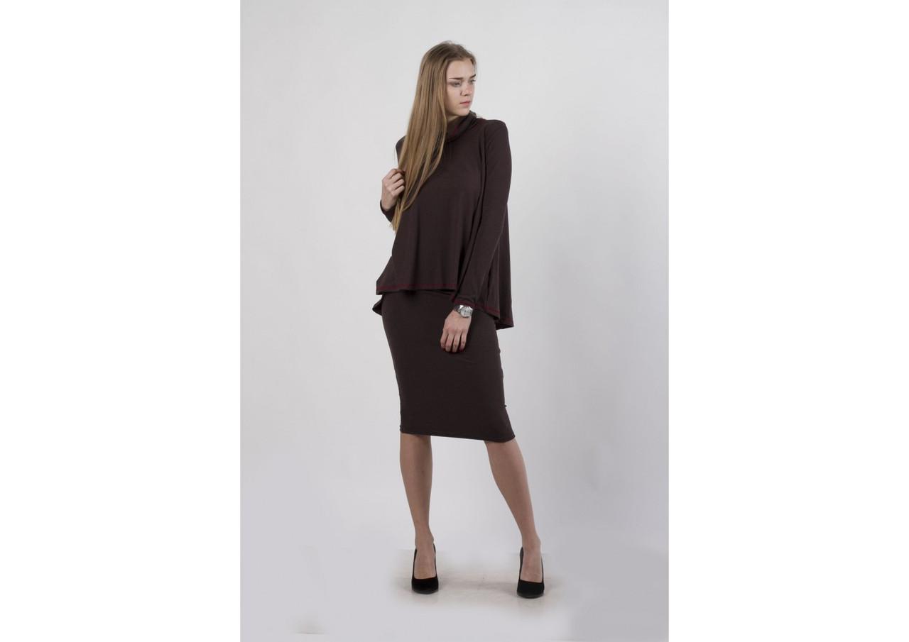 Комплект кофта солнце и юбка, коричневый