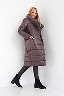 Женская куртка миди на зиму 2018 коричневого цвета