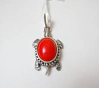 Серебряный подвес Черепашка с красным кораллом , фото 1