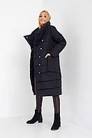 Молодежная черная зимняя куртка с карманами