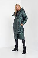 Трендовая женская стеганная куртка зеленого цвета