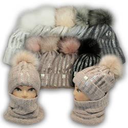 Детский комплект - шапка с ниткой люрекс и напылением, шарф хомут для девочки, 52-54
