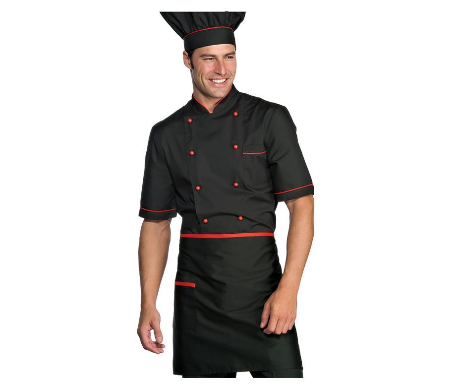 Комплект повара (китель + брюки + фартук + колпак) черный с красным Atteks - 00980