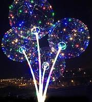 """Светодиодный шар бобо bobo 19"""", Воздушный светящийся на палочке с гирляндой в комплекте  от 50 штук"""