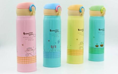 Бутылка для воды-термос 500ml Beautiful World (розовый)