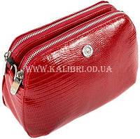 Распродажа! Женский кожаный красный клатч Karya под рептилию 0810-074 Турция