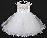 """Платье нарядное детское """"Молли"""" с вышивкой 2-3 года. Пудровый принт. Купить оптом и в розницу, фото 1"""