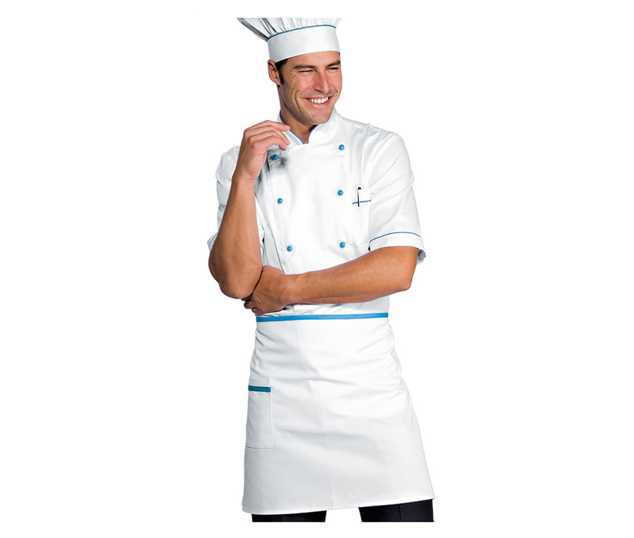Комплект повара (китель + брюки + фартук + колпак) белый с голубым Atteks - 00982